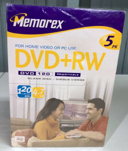 Memorex DVD+RW 5PK Plus DVD Cases New In Package Sealed
