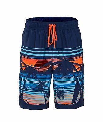 Men's Quick Dry Drawstring Waist Swim Trunks Board Shorts with Mesh Lining