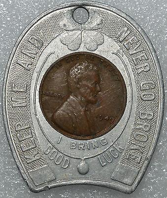 1949 LINCOLN HEAD ENCASED CENT-SOUVENIR OF POLAR CAVES NH-RARE-RUMNEY WHITE MNTs