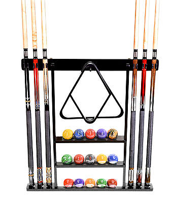 Cue Rack Only - 6 Pool - Billiard Stick + Ball Set Wall Rack Holder Black Finish