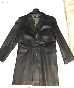 Long black genuine leather jacket , In good condition