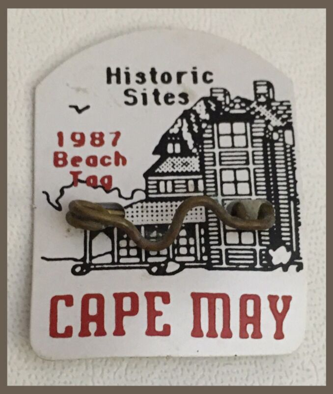 Vintage Cape May New Jersey 1987 BEACH TAG - Historic Sites Design   (M864)