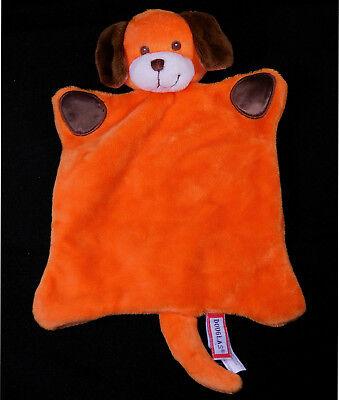 DOUGLAS Orange Puppy Dog Lovey Security Blanket Brown Paws & Ears