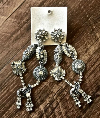 "BHLDN Bridal Earrings Rhinestone Hanging Chandelier Ornate Pierced 4.5"" long New"