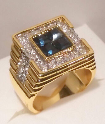 Used, 3.85 Ct Mens Diamond Sapphire Engagement Cocktail Ring Yellow Gold ov Size 12 for sale  Palmetto