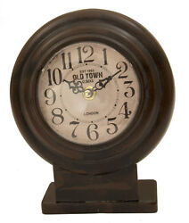 Vintage Looking Distressed Black and Brown Metal Clock 7x8x2.5 in