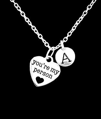 Best Friends Necklace You're My Person BFF Friendship Sister Initial