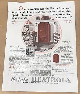 Estate Heatrola 1927 original vintage print 20s art illustration home decor
