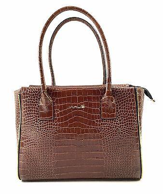 Innue Italian Large Brown Leather Croc Women's Elegant Tote Shopper Handbag