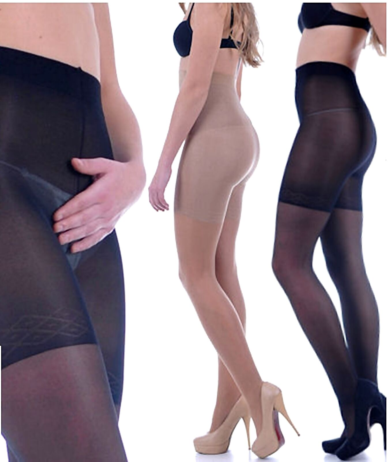SLIM BODY figurformende Mieder-Strumpfhose 40 den schwarz oder beige Bauch weg