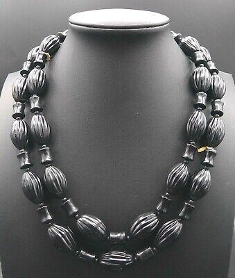 60s -70s Jewelry – Necklaces, Earrings, Rings, Bracelets Monet Vintage Black Lucite Beaded Necklace Mid Century 1950's 1960's $29.99 AT vintagedancer.com