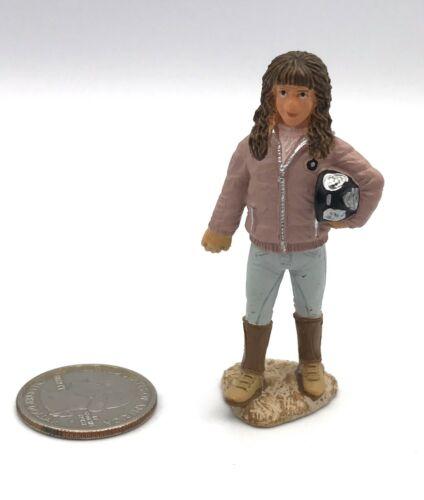 Schleich STANDING HORSE RIDER Brown Hair Girl Pink Jacket Figure w/Saddle 2009