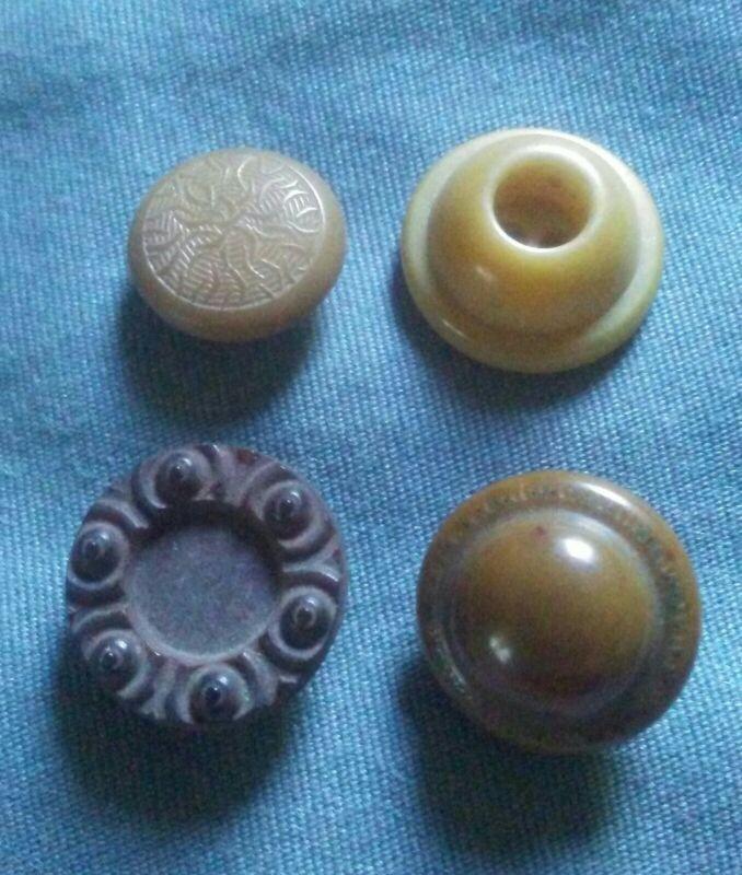4 Vintage Vegetable Ivory Buttons.