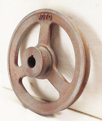 Vtg 3 Spoke 7 V-belt Groove Pulley Wheel Cast Iron Farm Industrial Machine