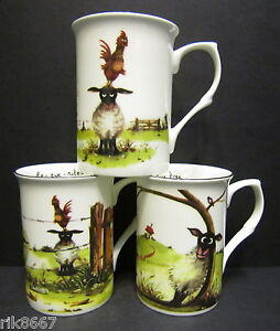 3 Set Of three Ewe Tree Sheep Fine Bone China Mugs Cups Beakers