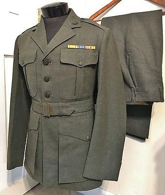 ORIGINAL WWII USMC US MARINE CORPS DRESS GREEN UNIFORM JACKET & TROUSERS- NAMED