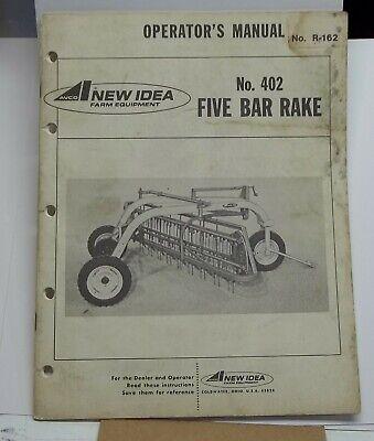 New Idea Equipment Operators Manual No 402 Five Bar Rake Hay Tractors Farming