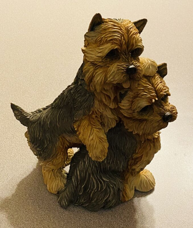 "Danbury Mint ""Yorkies"" Yorkshire Terriers Dogs Resin Figurine Collectible 10"""