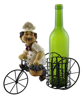 Metal Wine Bottle Holder w/ Italian Polyresin Chef Holding A Basket Of Grapes