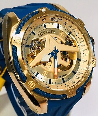 Invicta Aviator Bolt Blue Cabled Case Open Heart Auto Goldtone Auto Mens Watch