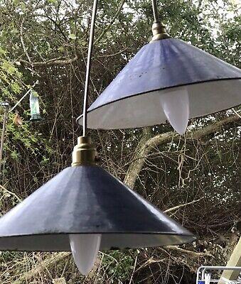Vintage Industrial Blue Enamelled Lights