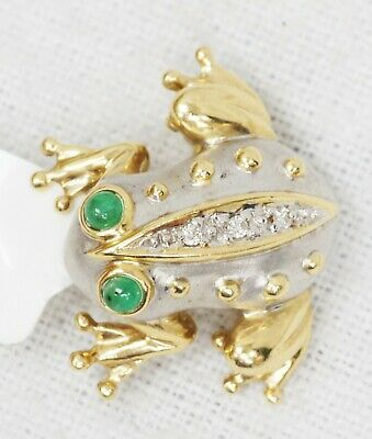 14K Yellow White Gold Tree Frog Pin Brooch & Pendant Diamond Emerald Accents Diamond Frog Pin
