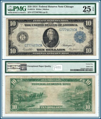 1914 Chicago $10 Federal Reserve Note PMG 25 EPQ Very Fine FRN Large-Size