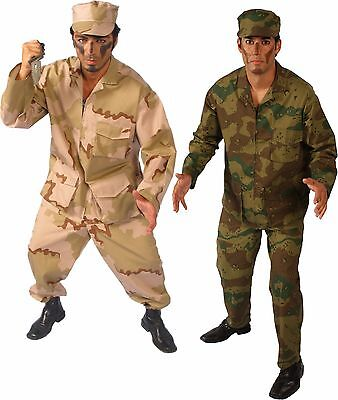 3 pc Army Man Adult Costume Military Camo Desert Camouflage ABU Tan or - Adult Green Army Man Costume