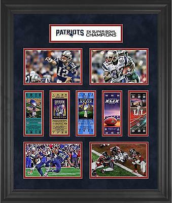 New England Patriots Framed 23x27 5-Time Super Bowl Champion Ticket Collage