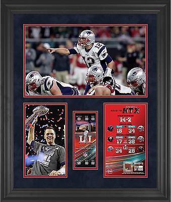 Tom Brady New England Patriots Framed 23x27 Super Bowl 51 Collage w/ Ball Piece