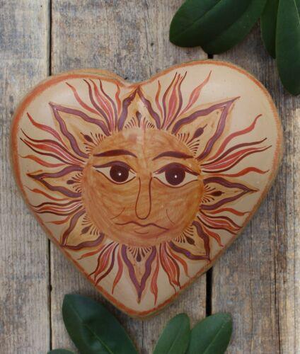 Lg Canelo Pottery Heart Sun Face Pablo Pajarito Handmade Tonala Mexican Folk Art