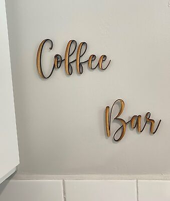 "Custom ""Coffee Bar"" Wood Sign, Plywood Personalized Signs 6mm, Wooden Wall Quote Home & Garden"