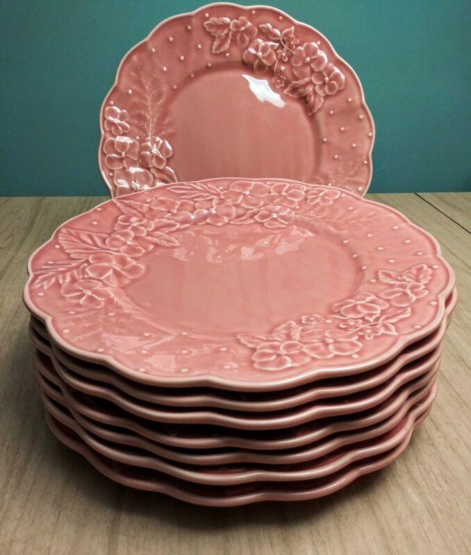"""VTG Set of 8 Bordallo Pinheiro Ingrid Pink Floral Majolica 10.5"""" Dinner Plates"""