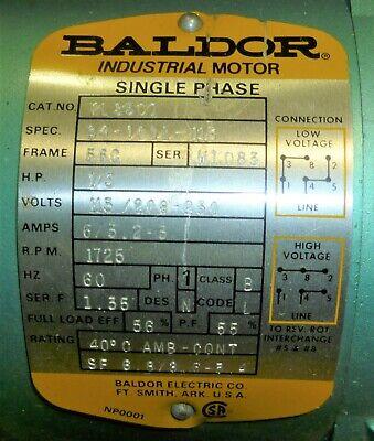 Baldor 13hp Motor 115208-230v Single Phase 1725 Rpm 63 2-3 Amps For 240 Ah