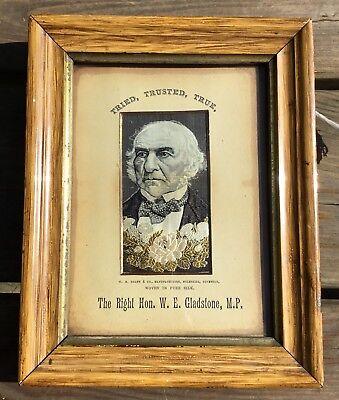 Antique WH Grant Stevengraph Woven Silk Picture The Right Hon. W.E. Gladstone MP