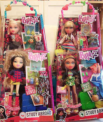 NEW Lot 4 BRATZ Study Abroad Dolls-Raya Cloe Yasmin Jade-SEALED