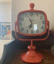 Urban Designs RETRO Rustic Metal Table Clock - Fire Engine Red or Aquamarine