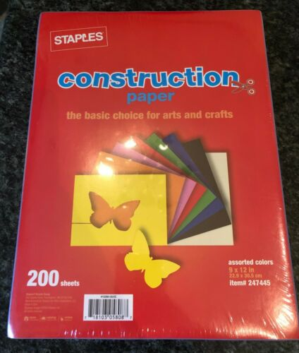 "Staples #247445 Construction Paper, 9"" x 12"", Assorted Colors, 200 Sheets, Lot/3"
