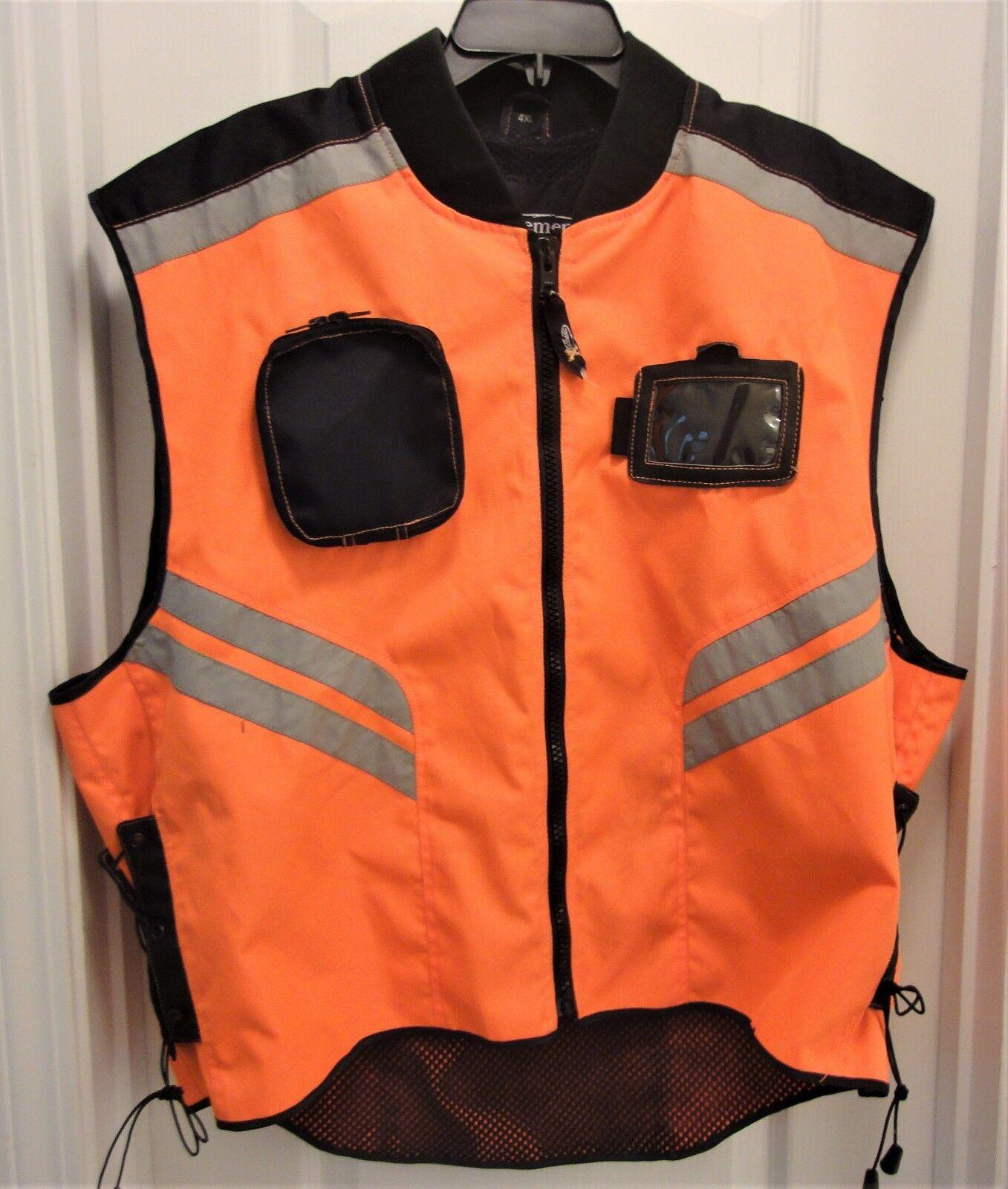 Mens Orange Safety Gear Motorcycle Vest Reflective Stripes High Visibility 4X