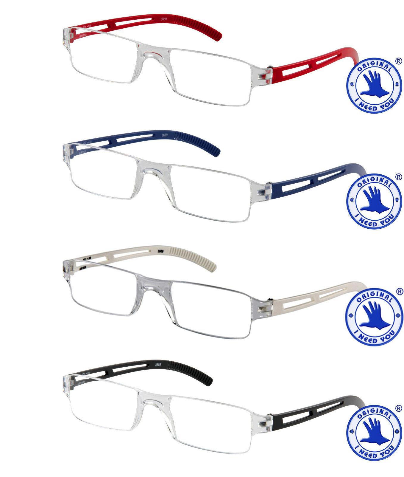 Herren Lesebrille transparent randlos Joy Lesehilfe Brille Etui 1,0 bis 4,0