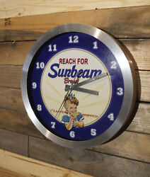 Sunbeam Bread Bakery Retro Wall Clock Large 12 inch Non Ticking Sweep Hand Glass