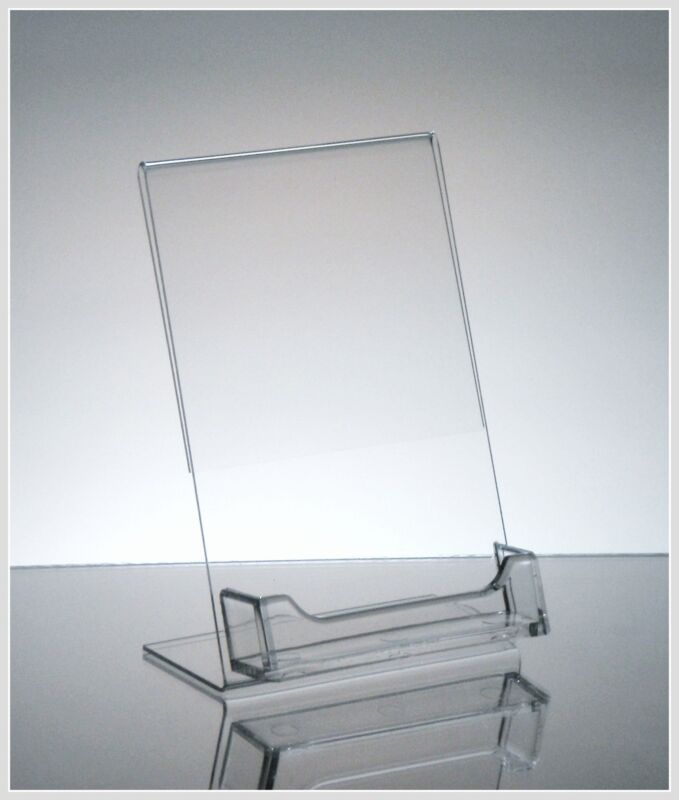 """10 Acrylic 4"""" x 6"""" Slanted Sign Holders with Business Card Holder"""