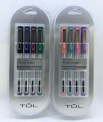 New Tul Fine Liner Assorted 1.0 Med Point 8 Pens Total