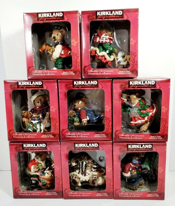 "Lot Of 8 Kirkland Signature Teddy Bear Vintage Christmas Ornaments holiday ""New"""