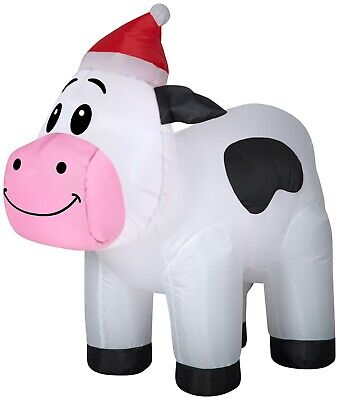 3' Gemmy Airblown Inflatable Christmas Cow Wearing A Santa Hat Yard Decor 114566
