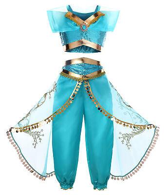 Girls Princess Jasmine Costume Halloween Cosplay Party Dress   - Halloween Costumes Jasmine