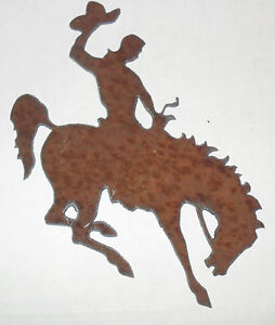 Rusty thick metal RODEO COWBOY with Bucking HORSE metal cut out - UNIQUE & RARE