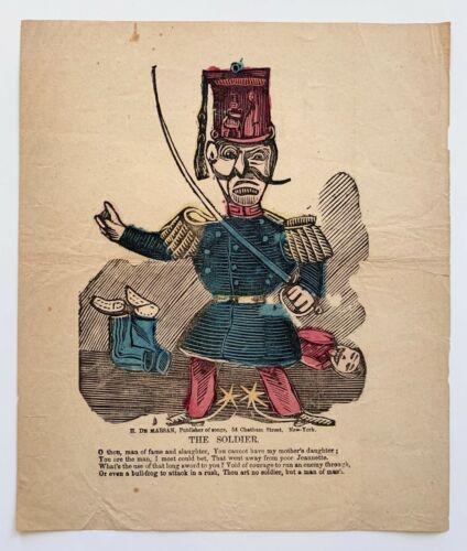 c 1865 H De Marsan The Soldier Civil War Valentine Broadside Folk Art Antique
