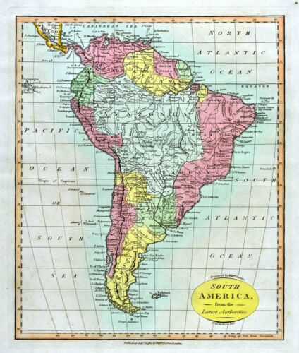 1812 Darton Union Atlas Map South America Brazil Amazon Argentina Chile Peru