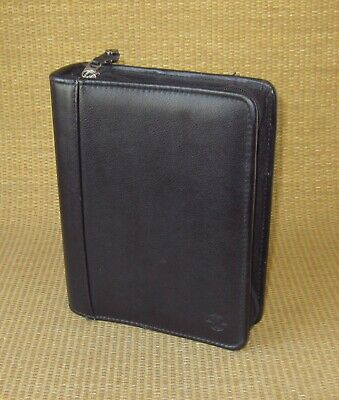 Compact Franklin Covey Black Leather 1.25 Rings Zip Plannerbinder